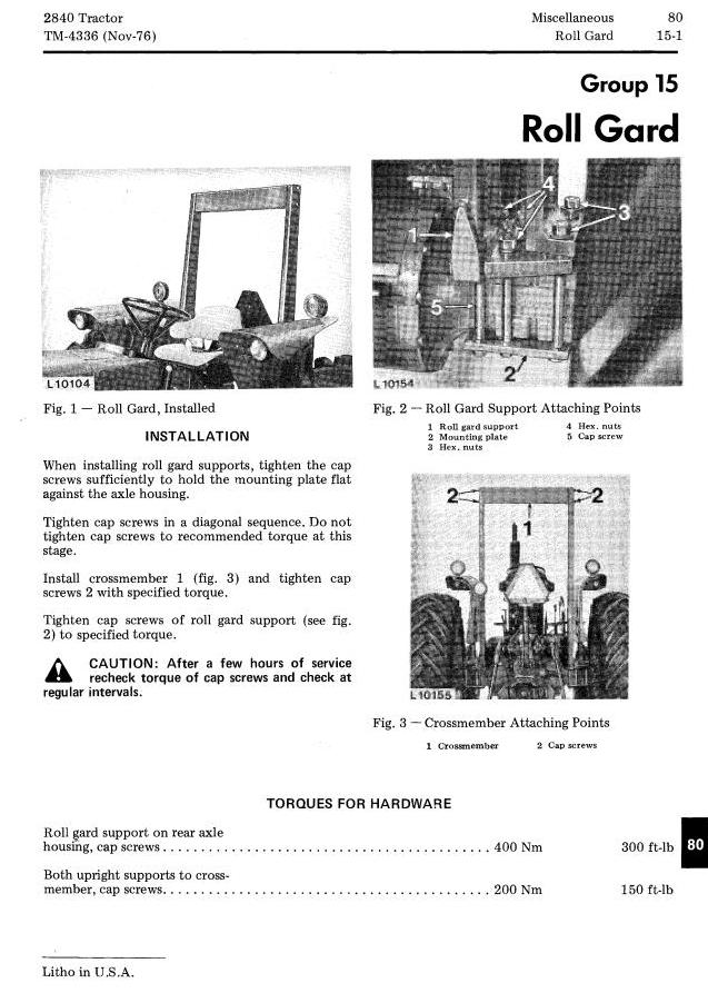 John Deere 2840 Utility Tractor Technical Service Manual