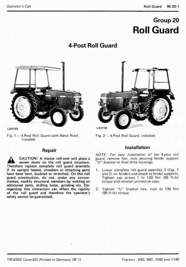 John Deere 840, 940, 1040 & 1140 Tractors Technical