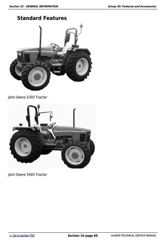 John Deere Tractors 5303 and 5403 (India) Service Repair