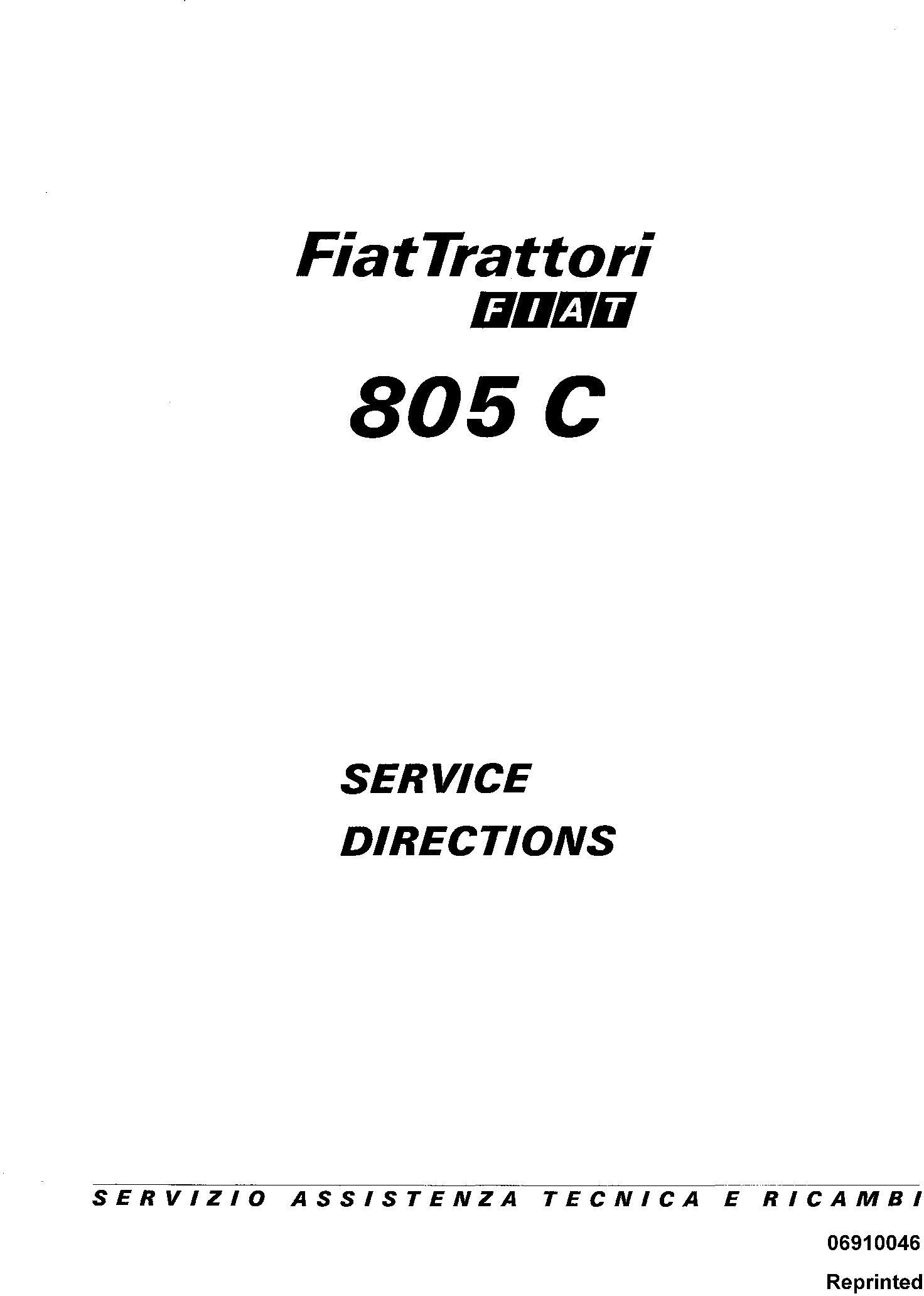 Fiat 805C Crawler Tractor Service Directions Manual