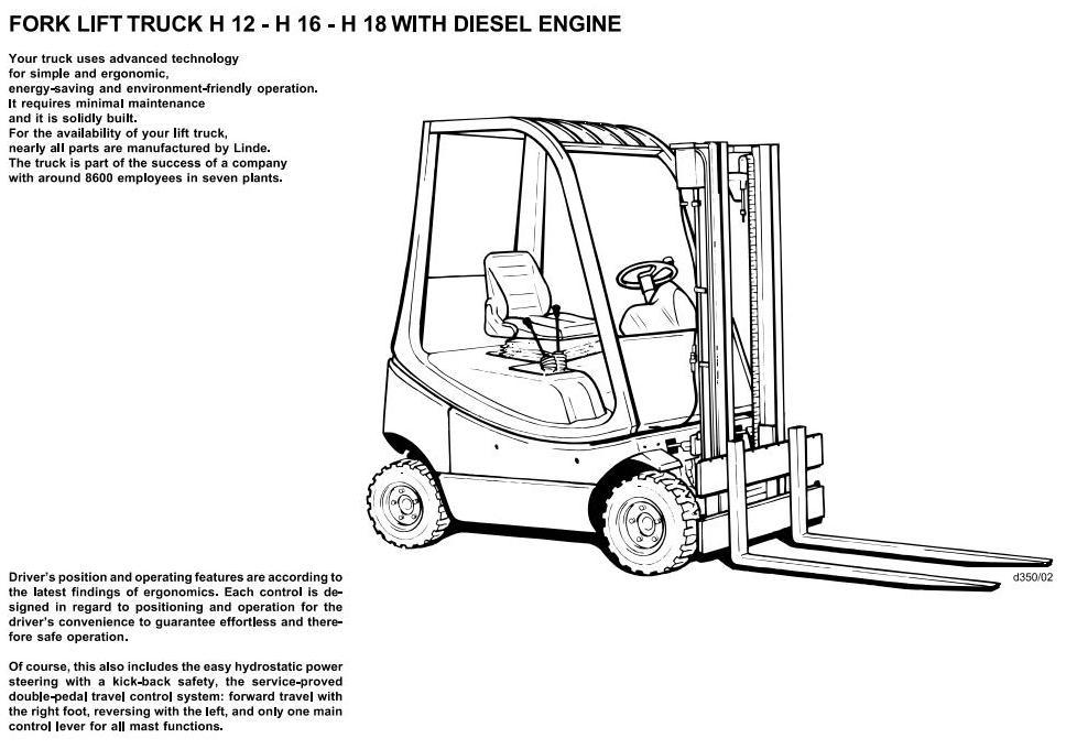Linde H12, H16, H18 Diesel Forklift Trucks 350 series