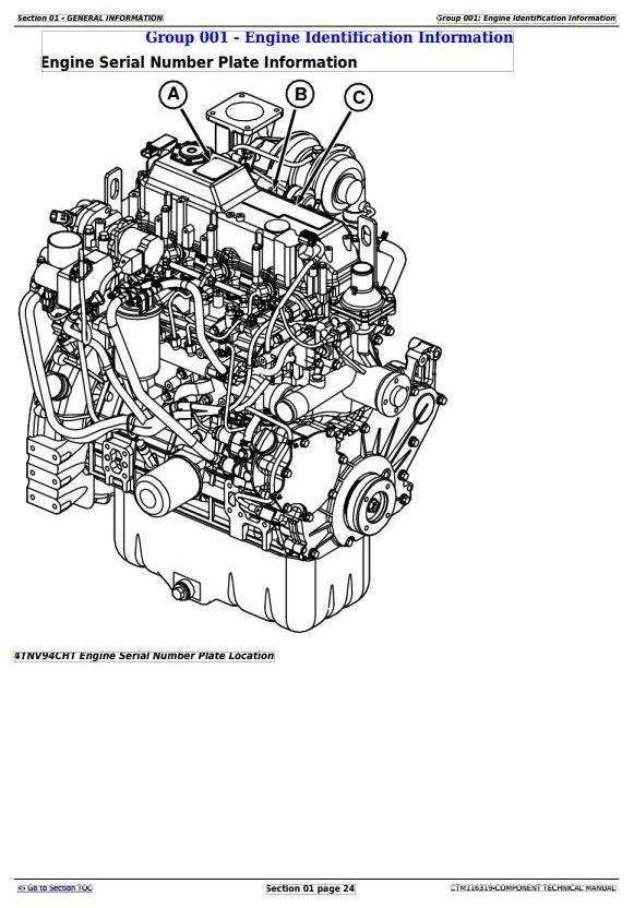 John Deere Yanmar 4TNV94CHT Diesel Engine (Interim Tier 4
