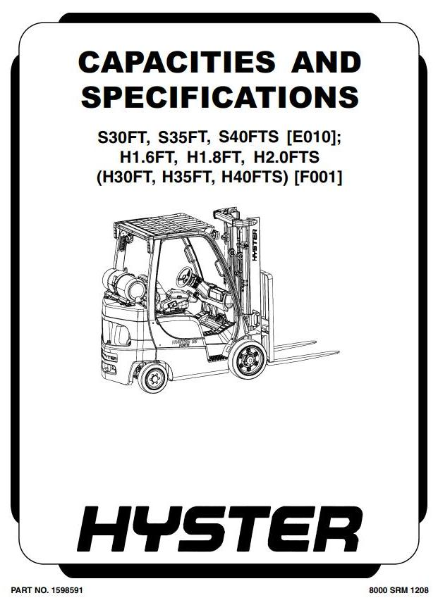 Hyster H30FT, H35FT, H40FTS Forklift Truck F001 Series