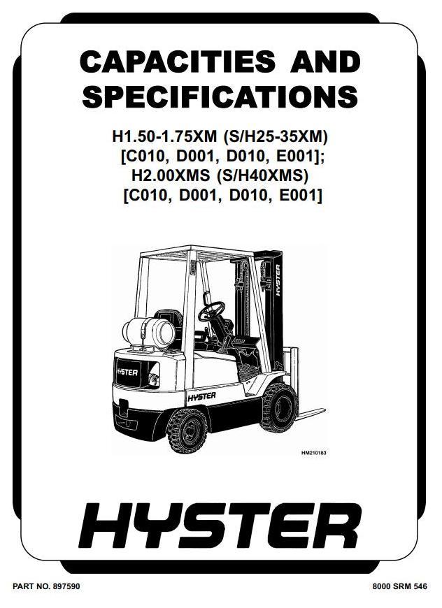 Hyster H25XM, H30XM, H35XM, H40XMS (H1.50XM-H2.00XMS