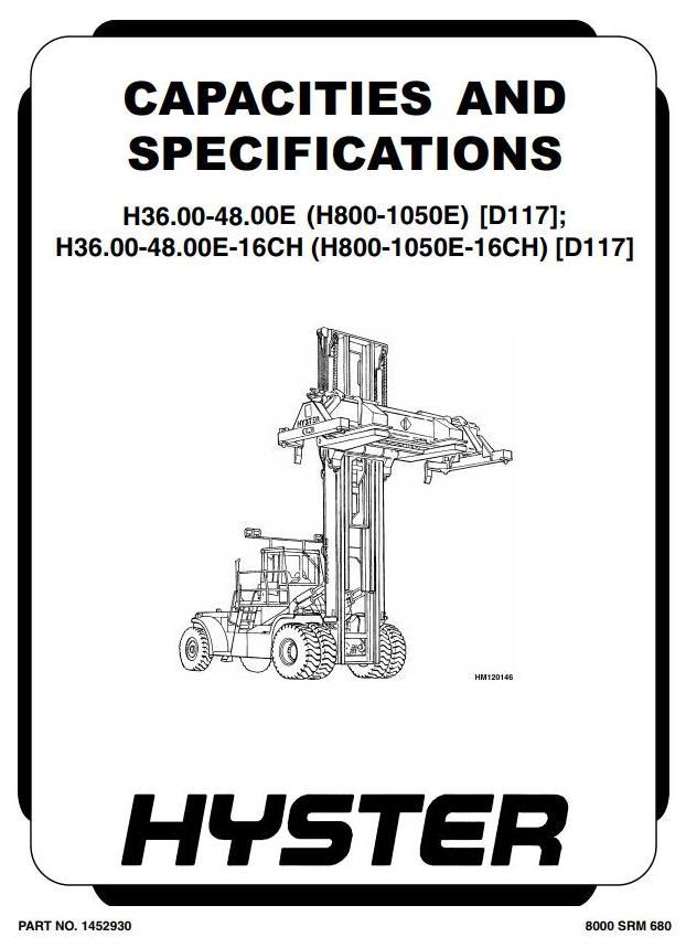 Hyster H800E, H880E, H970E, H1050E Forklift Truck D117