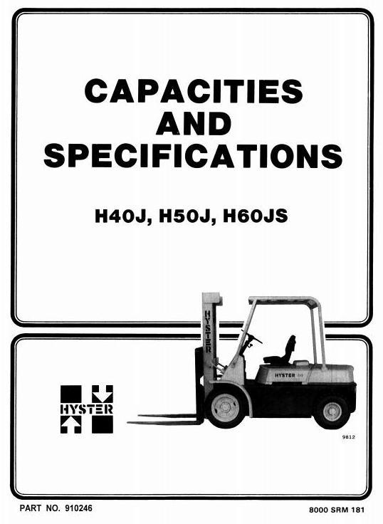 Hyster H2.00J, H2.50J, H3.00JS Diesel/LPG Forklift Truck