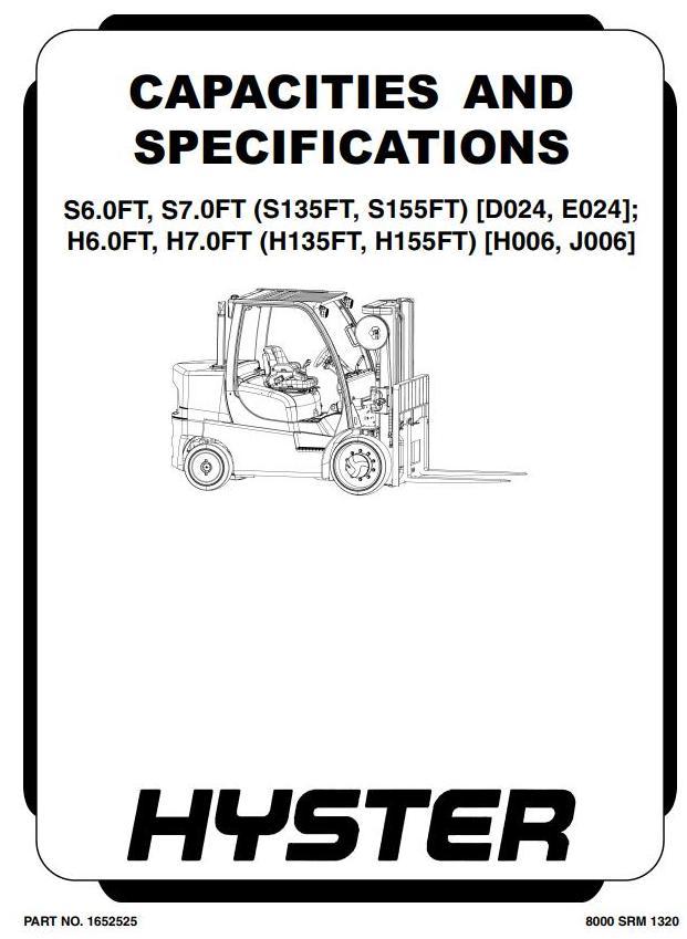 Hyster H6.0FT, H7.0FT Diesel/LPG Forklift Truck J006