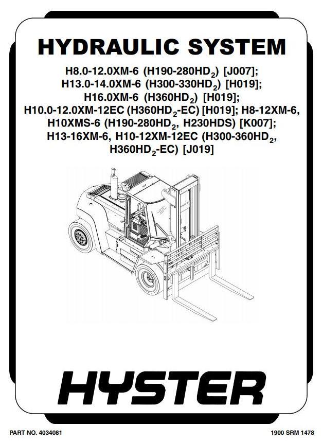 Hyster H8XM-6, H9XM-6, H10XM-6, H10XMS-6, H12XM-6 Forklift