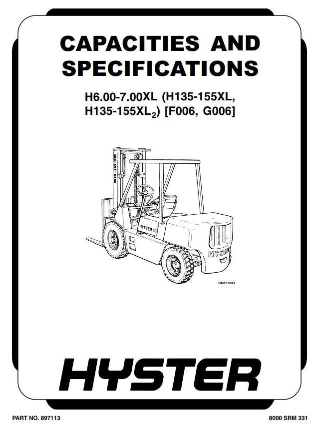 Hyster H135XL, H155XL Diesel/LPG Forklift Truck F006