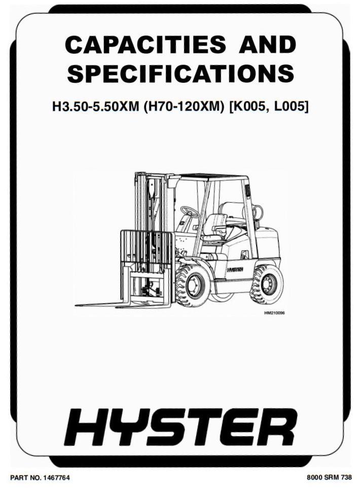 Hyster H3.50XMS, H3.75XMS, H4.00XMS, H4.50XM, H5.00XM,H5