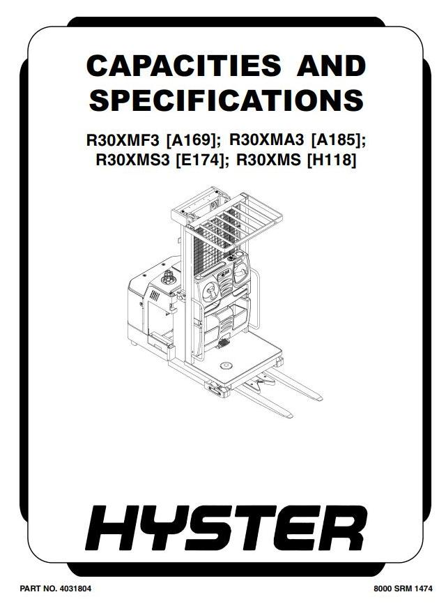Hyster R30XMF3 Electric Reach Truck A169 series Workshop