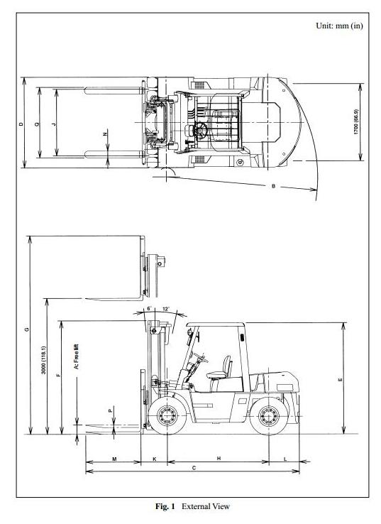 Nissan 1F6F60U, 1F6F70U, 1F6F80U Diesel Forklift Truck