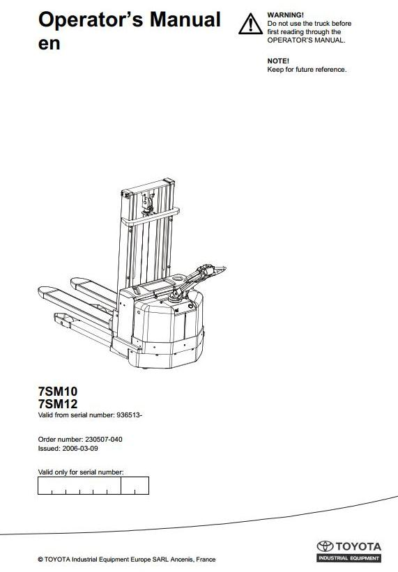 Toyota 7SM10, 7SM12 Pallet Truck (SN. from 936513