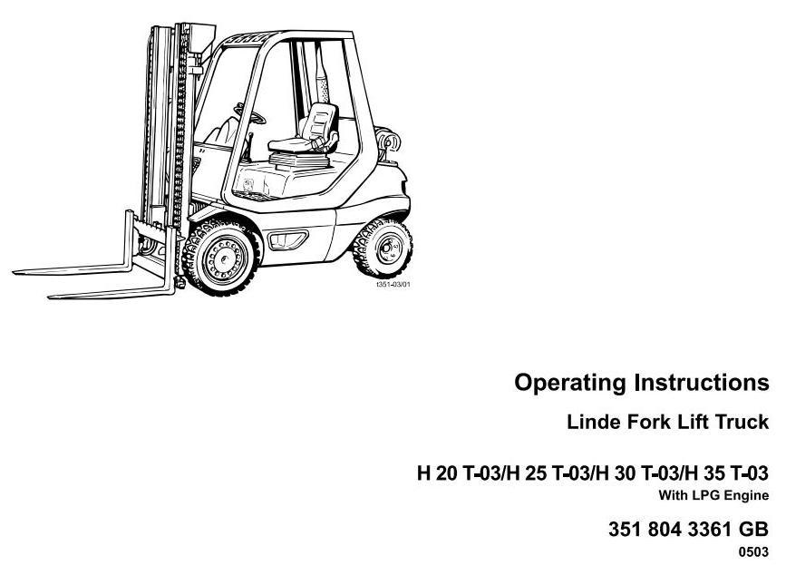 Linde H20T, H25T, H30T, H35T (Perkins LPG) Forklift Truck