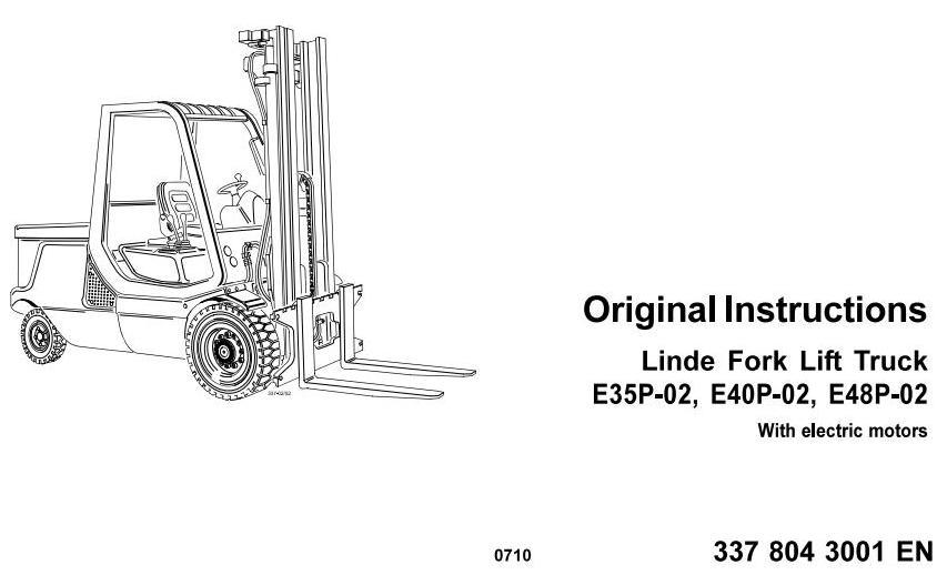 Linde E35P, E40P, E48P Electric Forklift Truck 337-02