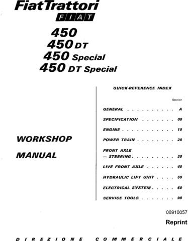 Fiat 450, 450S, 450DT, 450DTS Tractor Service Manual
