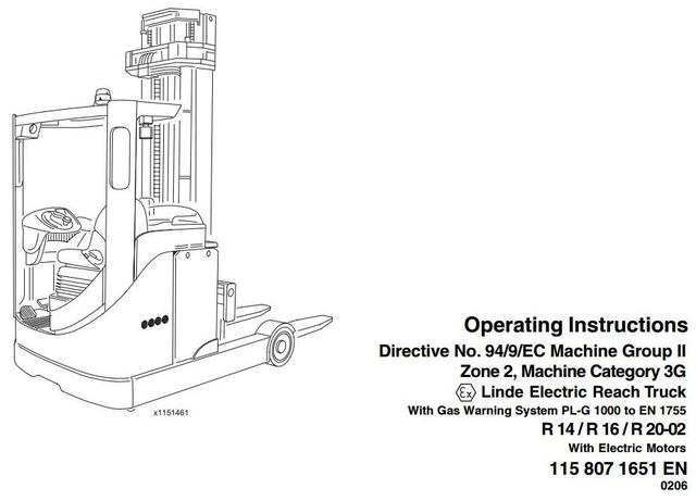 Linde R14, R16, R20 Electric Reach Truck 115-02 Ex Series