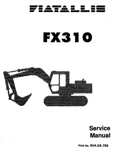 Fiat-Allis FX310 Hydraulic Excavator Service Manual
