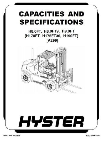 Hyster H8.0FT, H9.0FT, H8.0FT9 Forklift Truck A299 Series