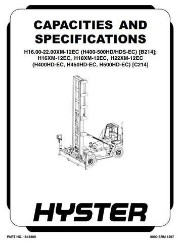Hyster H16.00XM-12EC, H18.00XM-12EC, H22.00XM-12EC