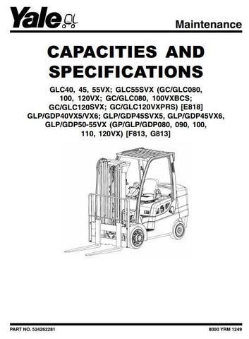 Yale GLP/GDP 40VX5/40VX6/45SVX5/45VX6/50VX/55VX Diesel/LPG