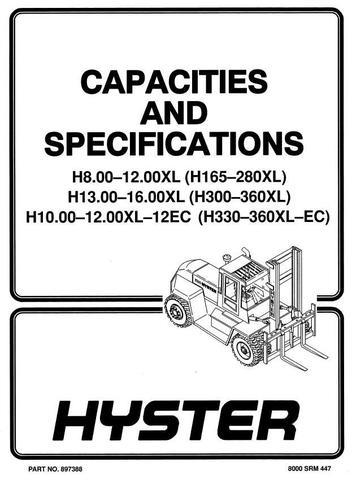 Hyster H165XL, H190XL, H210XL, H230XL, H250XL, H280XL