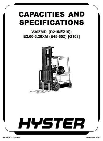 Hyster V30ZMD Electric Forklift Truck E210 Series Workshop