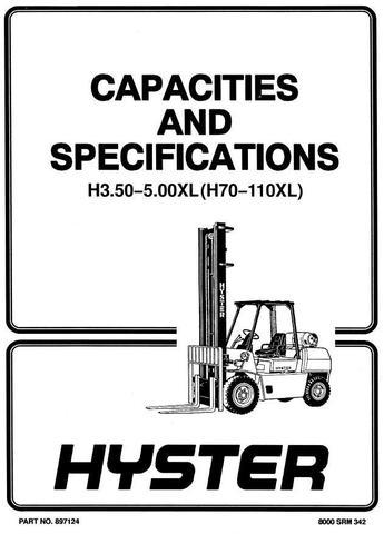 Hyster H3.50XL, H4.00XL-5, H4.00XL-6, H4.50XL, H5.00XL