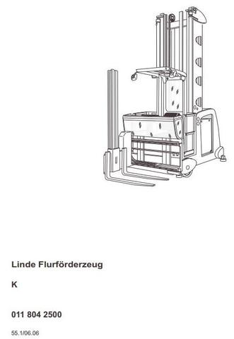 Linde K Order Picker 011 Series From 11.2005 Operating