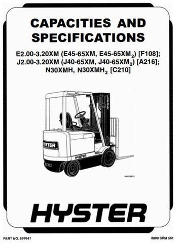 Hyster J2.00XM, J2.50XM, J3.00XM, J3.20XM Electric