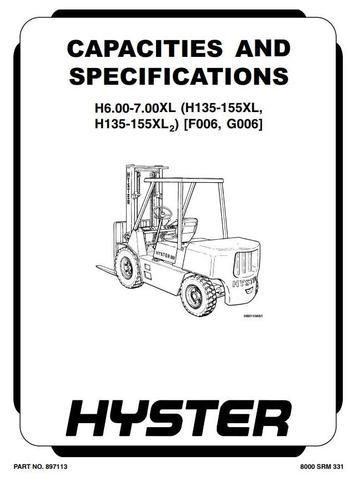 Hyster H135XL (H6.00XL), H155XL(H7.00XL) Diesel/LPG