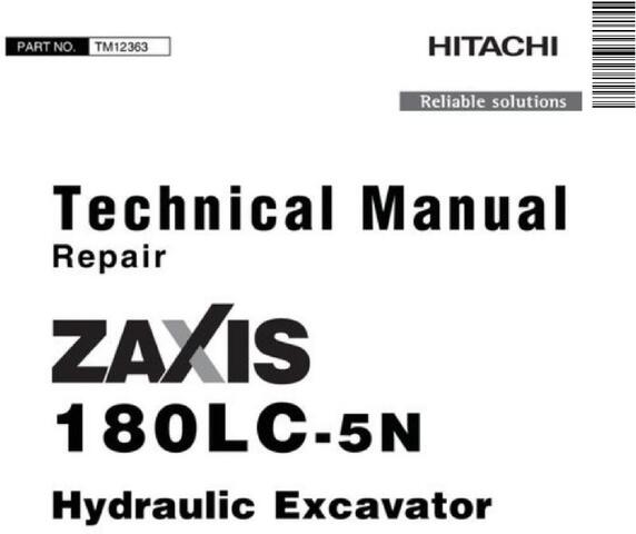 Hitachi Zaxis 180LC-5N Excavator Repair Technical Service