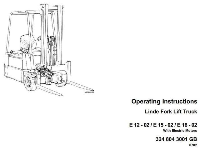 Linde E12-02, E15-02, E16-02 Forklift Truck 324-02 series