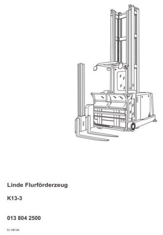 Linde K15-3, K15-3AC Forklift Truck 013 Series Operating