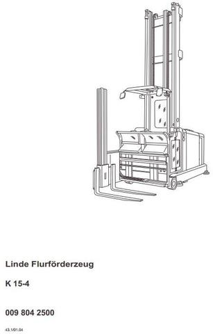 Linde K15-4 Forklift Truck Type 013 Operating Instructions