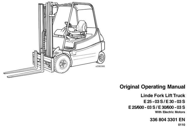 Linde E25-03S, E30-03S Electric Forklift Truck 336-03