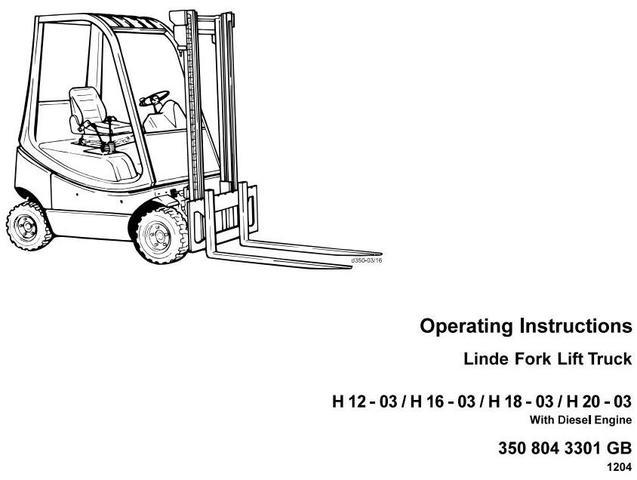 Linde H12D, H16D, H18D,H20D Diesel Forklift Truck 350-03