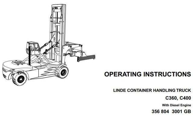 Linde C360, C400 Container Handler 356 Series Operating