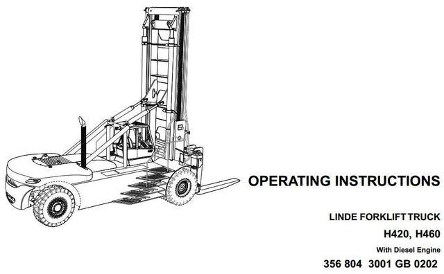John Deere Linde H420, H460 Forklift Truck 356 Series