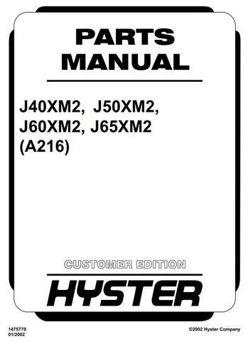 Hyster J40XM2, J50XM2, J60XM2, J65XM2 Electric Forklift