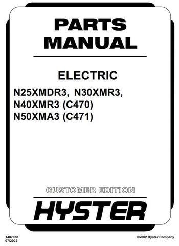 Hyster N25XMDR3, N30XMR3, N40XMR3, N50XMA3 Electric Reach