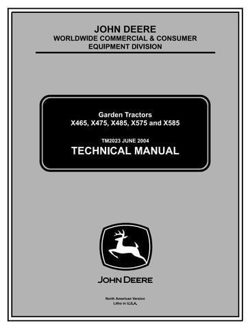 John Deere X475, X485, X465, X575, X585 Lawn and Garden