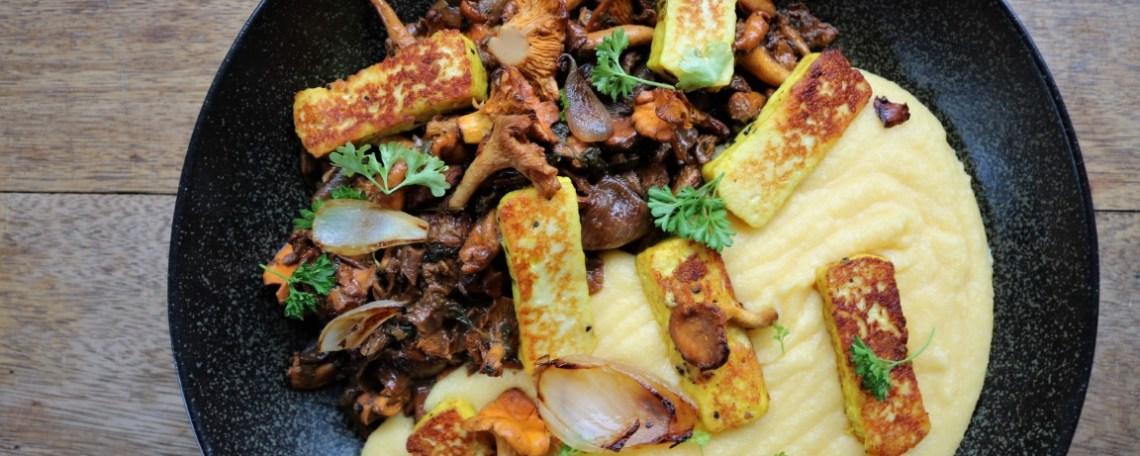 how to prepare halloumi, polenta with halloumi and mushrooms