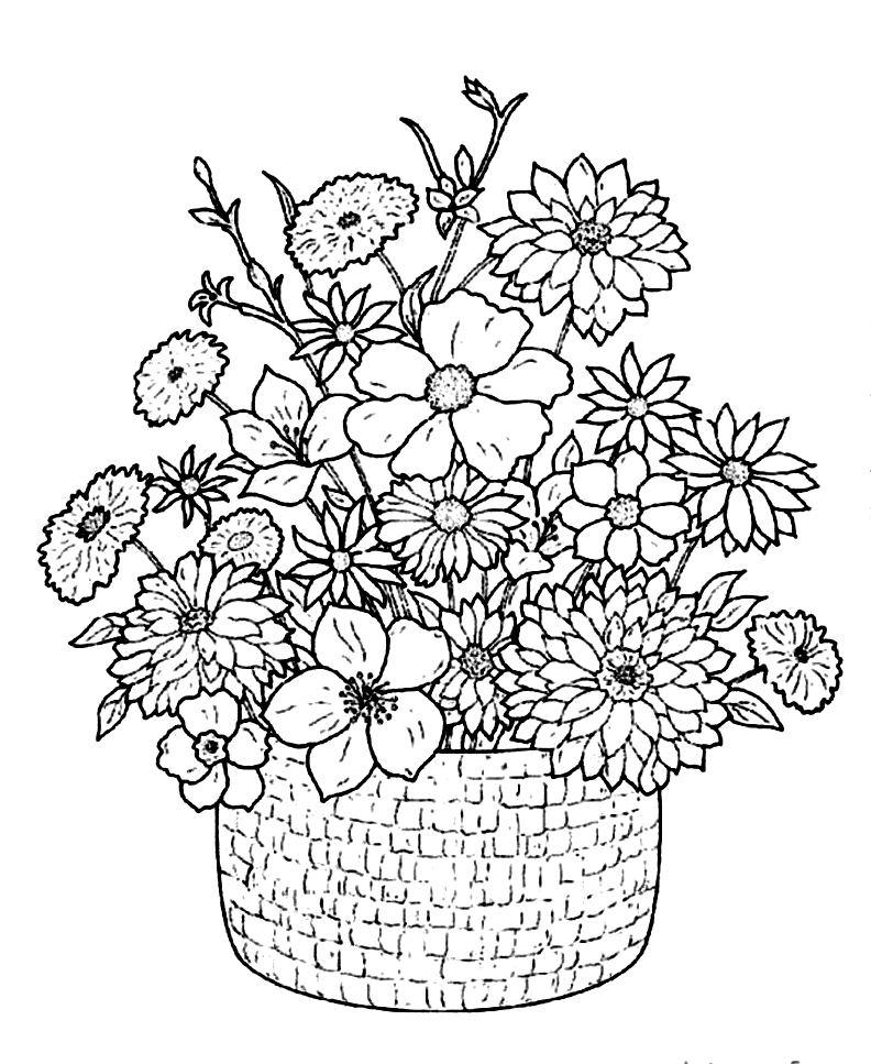 Coloriage À Imprimer Fleurs Et Papillons