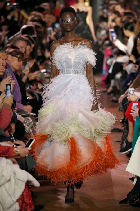 A model walks the runway during the Schiaparelli Spring Summer 2019 show as part of Paris Fashion Week on January 21, 2019 in Paris, France.