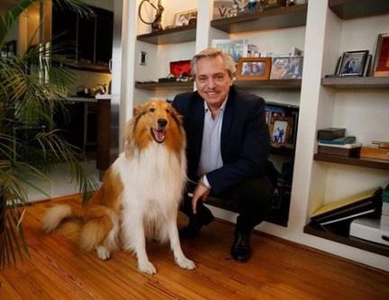 Alberto Fernández com seu cão Dylan
