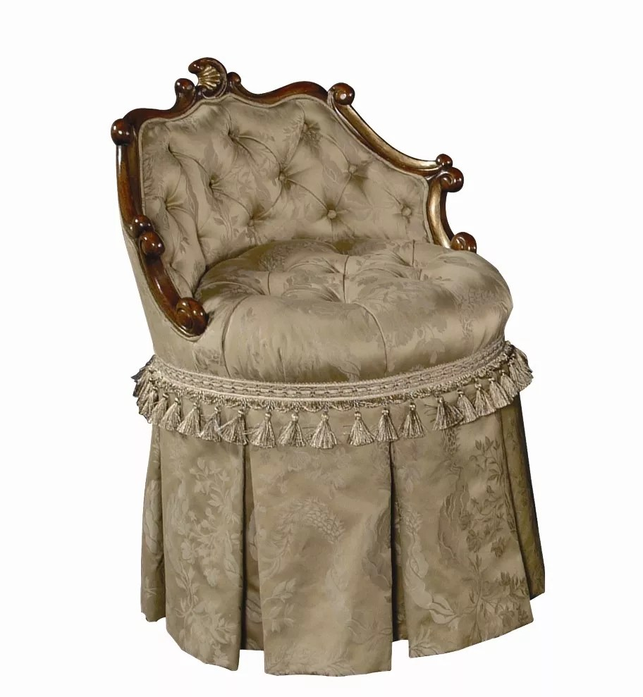 Tufted Vanity Chair Vanity Stool With Swivel Tufted