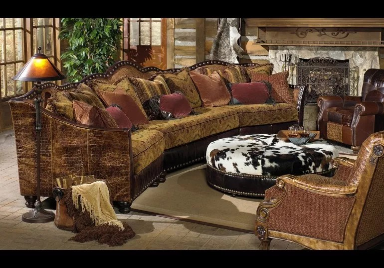 01 western furniture custom sectional sofa chairs hair hide ottoman
