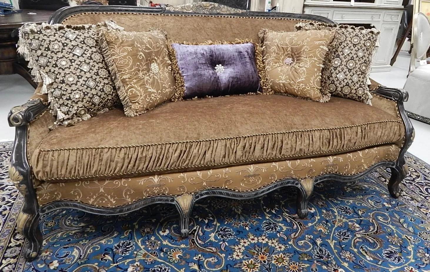 gold leather sofa set jcpenney sleeper victorian style english needlepoint