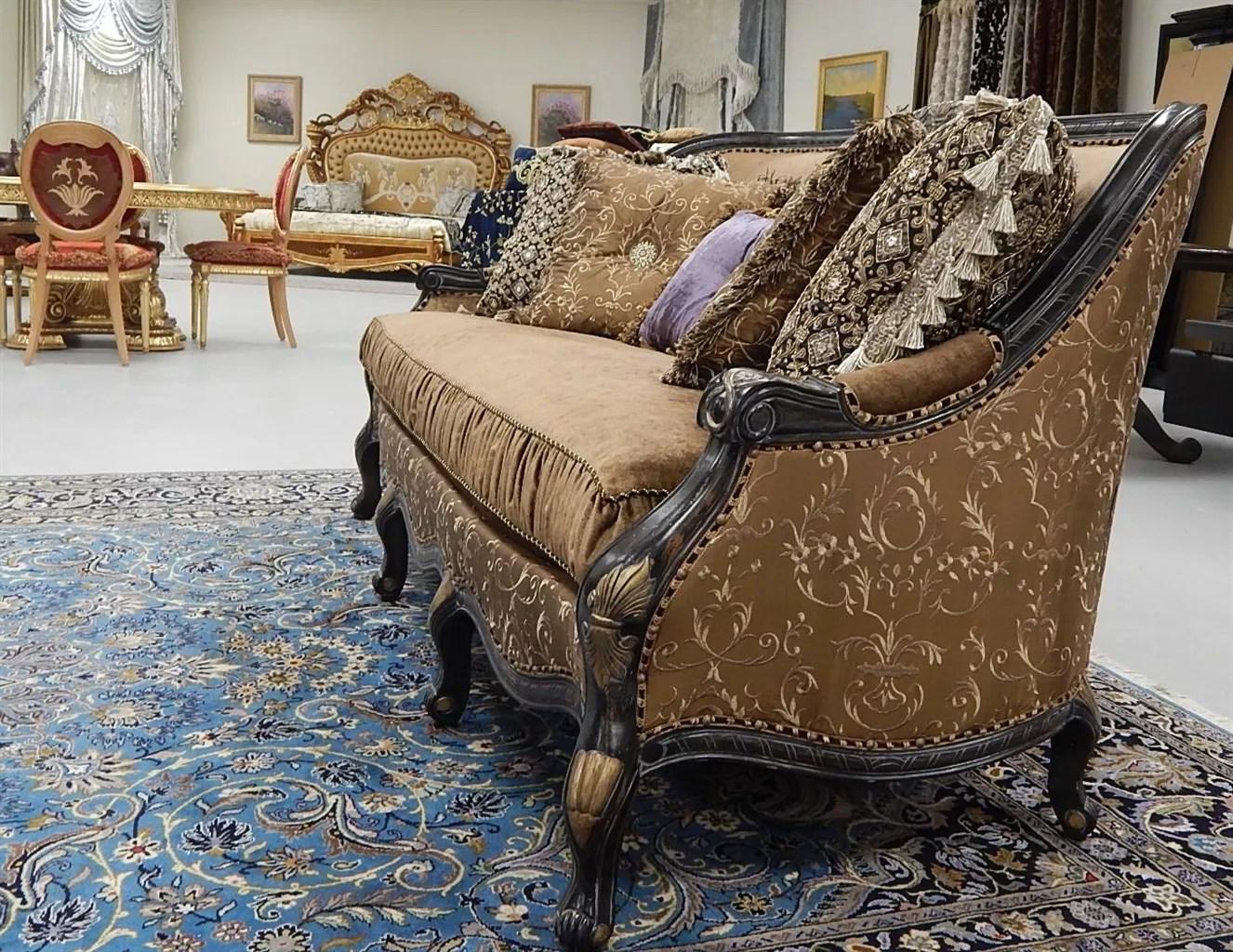 gold leather sofa set plum victorian style salvatore fabric